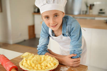 kids class: Portrait of school girl in pastry class