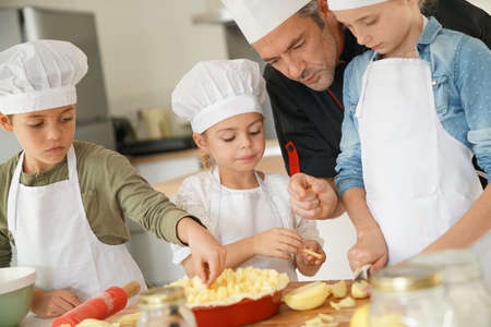 four classes: Pastry class with kids little chefs
