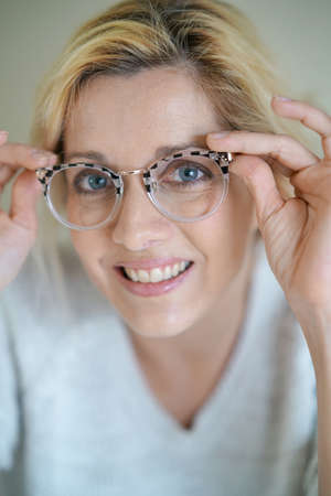 potrait: Potrait of beautiful blond woman with eyeglasses, isolated