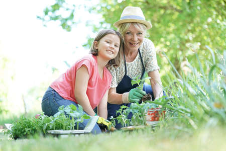 complicity: Grandmother and granddaughter gardening together