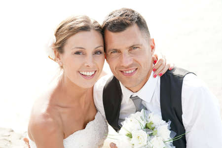 Portrait of beautiful bride and groom Stock Photo