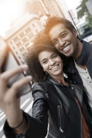 Couple in New York city taking selfie picture Stock Photo
