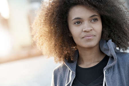 Portrait of beautiful mixed raced girl in Roosevelt island