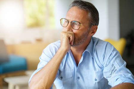 Portrait of handsome 45-year-old man with eyeglasses 版權商用圖片