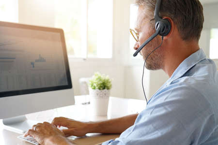Businessman working from home, telework