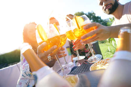 Summer party, group of friends cheering up with drinks Banque d'images