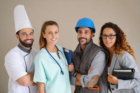 Young adults with different occupations Banque d'images