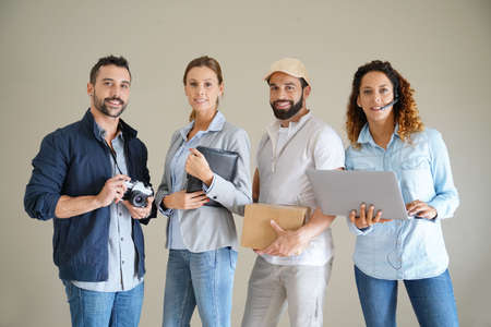 delivery service: Young adults with different occupations Stock Photo