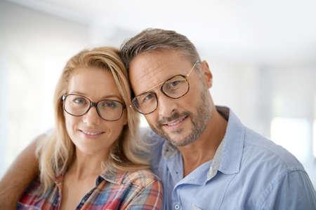 Portrait of mature couple wearing eyeglasses Banque d'images