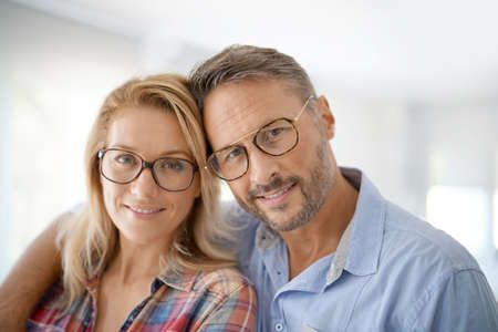 Portrait of mature couple wearing eyeglasses Stock Photo