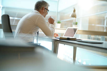Back view of businessman in office working on laptop