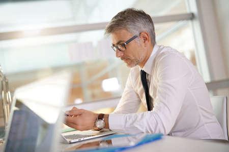Mature businessman in office working on laptop Standard-Bild
