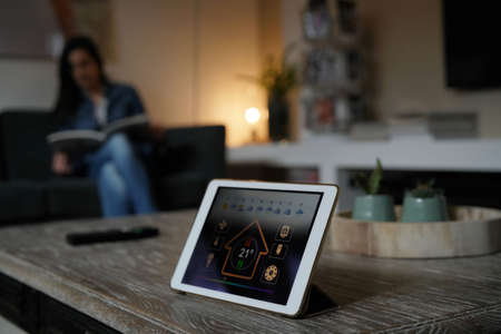 Closeup of digital tablet showing home control interface