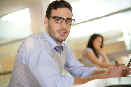 Portrait of young businessman with eyeglasses  Banque d'images