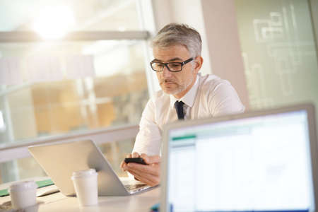 Mature businessman in office talking on phone
