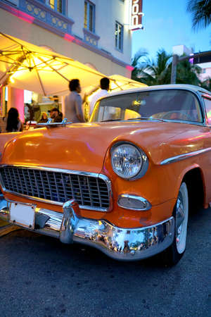 Old fashioned car parked in the street of Miami South beach
