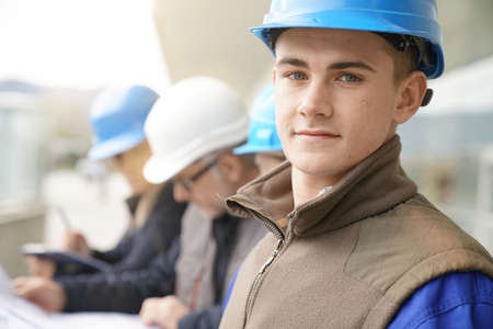 Portrait of young man in construction industry training Archivio Fotografico