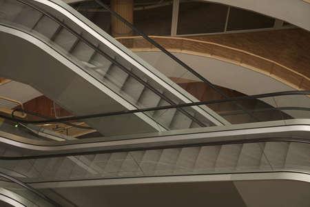 Indoor escalator in modern building