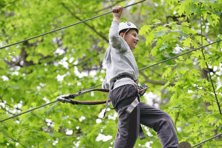 Young boy climbing trees at rope park Reklamní fotografie - 101086223