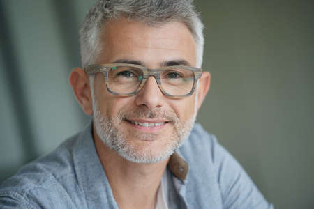 Middle-aged guy with trendy eyeglasses Reklamní fotografie