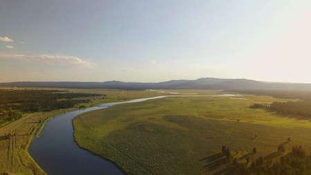 Aerial view of Henrys Fork river, Idaho Фото со стока
