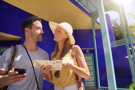 Couple exploring stunning Majorelle Gardens in Morocco Stockfoto