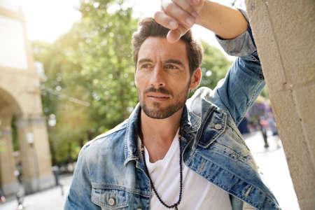 Portrait of trendy guy with urban look Stok Fotoğraf