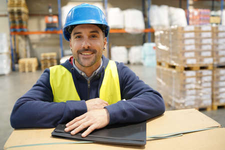Warehouseman controlling incoming goods