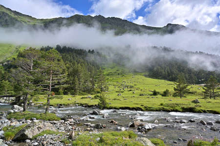 high mountain landscape in the French Pyrenees above Cauterets in summer