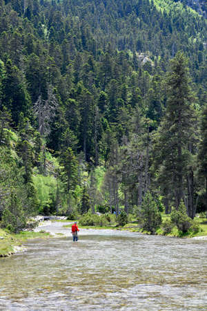 superb high mountain landscape in summer with a fly fisherman trout fishing