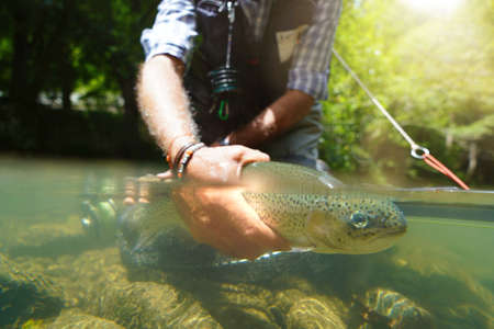 fly fisherman in summer catching a rainbow trout fishing in a mountain river 스톡 콘텐츠 - 151815044