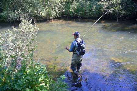 fly fisherman in summer fishing in a mountain river with waders and a cap 스톡 콘텐츠