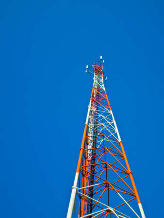 This is Mast or monopole  on blue sky background