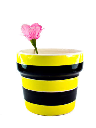 This is a Ceramic flower pot with Artificial flowers on white background photo