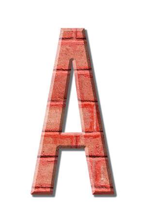 brick style Letter alphabet on White background photo