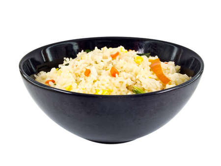 This is a Fried rice in black Bowl