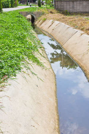 This is a Drainage channel have a weed photo