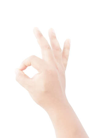 okay: Okay or agree hand sign on isolate background, vertical image Stock Photo