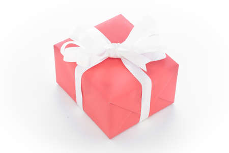 one red gift box on white background Stock Photo
