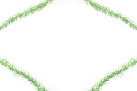 green tinsel frame on white background Stock Photo