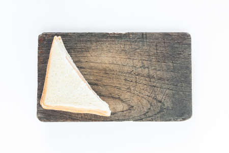 sandwich ham on wood plate top white background not isolated background Stock Photo