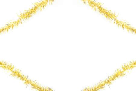 gold tinsel frame on white background Stock Photo