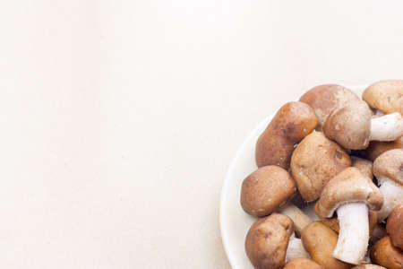 haft Shiitake mushroom dish place on brown background at right side Stock Photo
