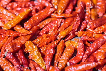 close up red dried chilli focus on center of image