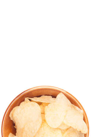 half potato chips bowl on white background not isolated