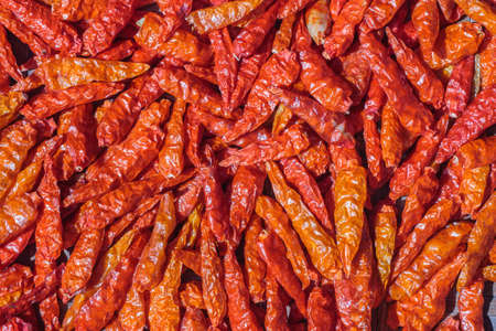 red dried chilli top view
