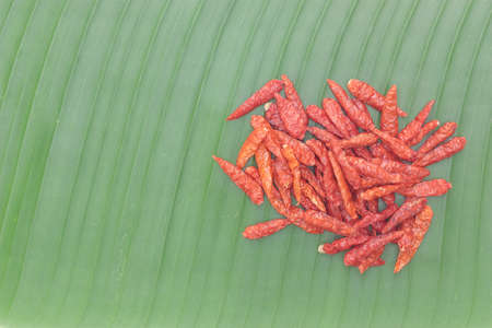 red dried chilli on banana leaf texture