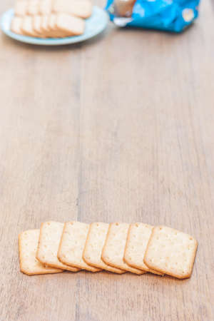 biscuits stacking and copy space , have a  snack in background