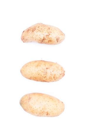 three raw potato  on white background Stock Photo