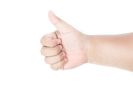 hand thumbs up from right of image on isolated background, yellow brown asia man skin skin tone